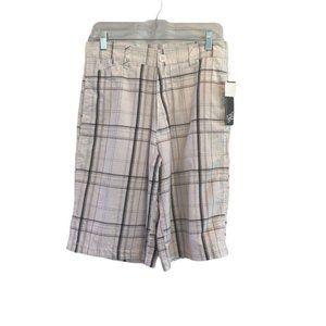Point Zero Men's Plaid White Gray Black Shorts NWT